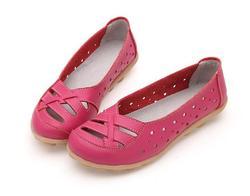 Verano transpirable cómodo Fondo suave casual mamá Agujero hueco zapatos sandalzapatos de mujer de cuero genuino