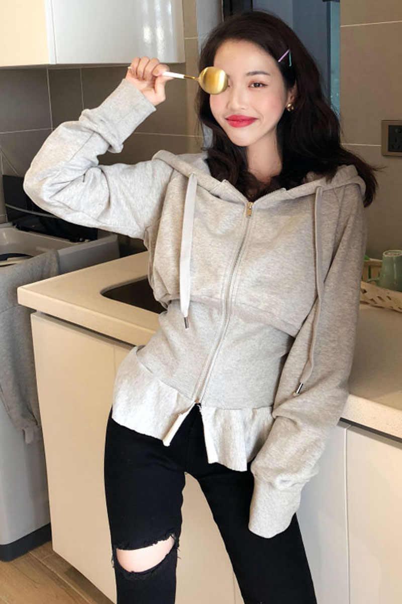 สีเทา Corset hoodie เซ็กซี่ hoodies และ sweatshirts สำหรับผู้หญิงสีดำ streetwear Gothic แขนยาวฤดูใบไม้ร่วง hoodies ฤดูหนาวสำหรับสุภาพสตรี