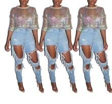 Summer Women Transparent Sequins T Shirt Half Sleeve Crop Top Female Sexy Camisole Club Tee
