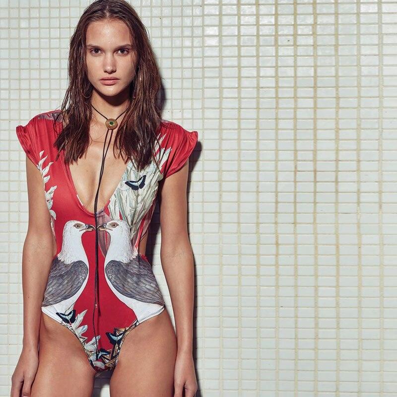 Цельный купальный костюм с принтом птиц, пикантная одежда для плавания, женский купальный костюм, Винтажная летняя пляжная одежда, монокини...