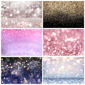 Laeacco Fantasy Glitter Star Polka Dot Light Bokeh Wedding Birthday Love Party Baby Child Photo Background Photography Backdrop