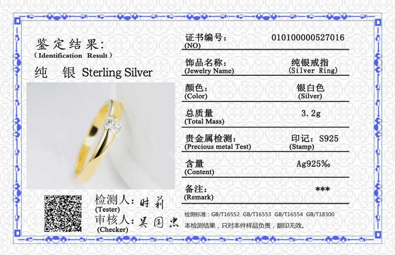 YANHUI 証明書 925 シルバージュエリー 1.0ct 婚約指輪恋人ゴールドカラーウェディングリング男性と女性 r16