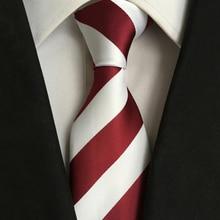 Classic 8cm Width Ties For Man Silk Simple Red And White Stripe Men's Suit Business Formal Work Tie Wedding Groom Party Neckties