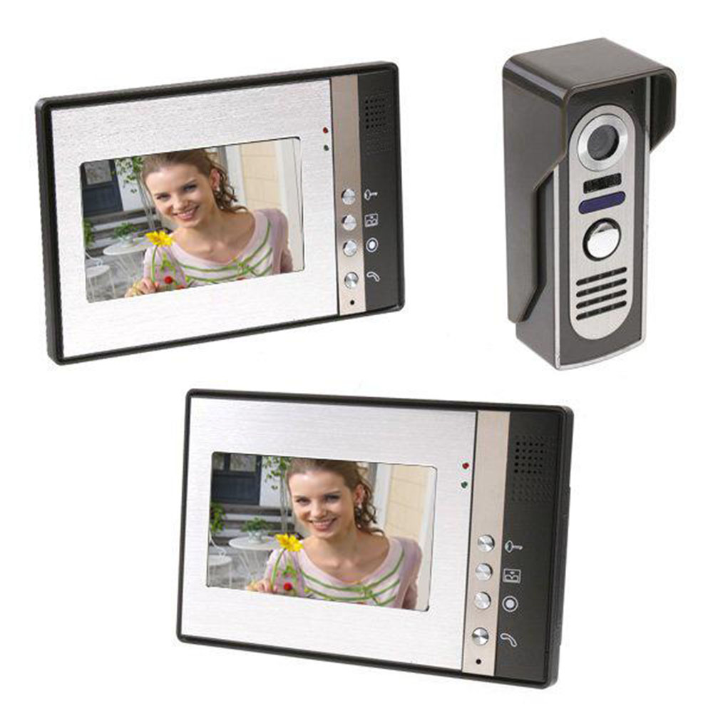 7 Inch TFT 2 Monitors Video Door Phone Doorbell Intercom Kit 1-camera 2-monitor Night Vision With IR-CUT HD 700TVL Camera