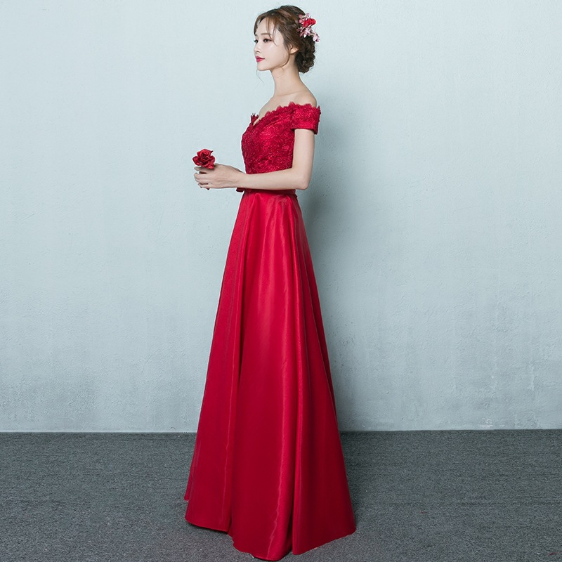 Bride Dress For Toast 2019 Summer New Style Dignified Off-Shoulder Lace Bridesmaid Dress Long Red Marriage Evening Gown