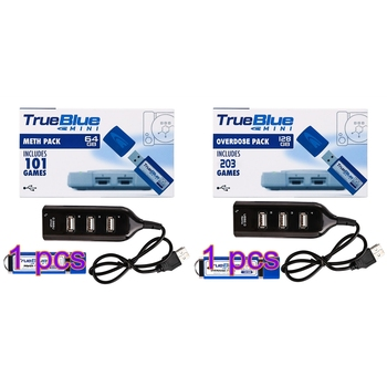 HOBBYINRC True Blue Mini 64gb 101 Games Meth Pack +128gb 203 Games Overdose Pack for PlayStation Classic 2-player games