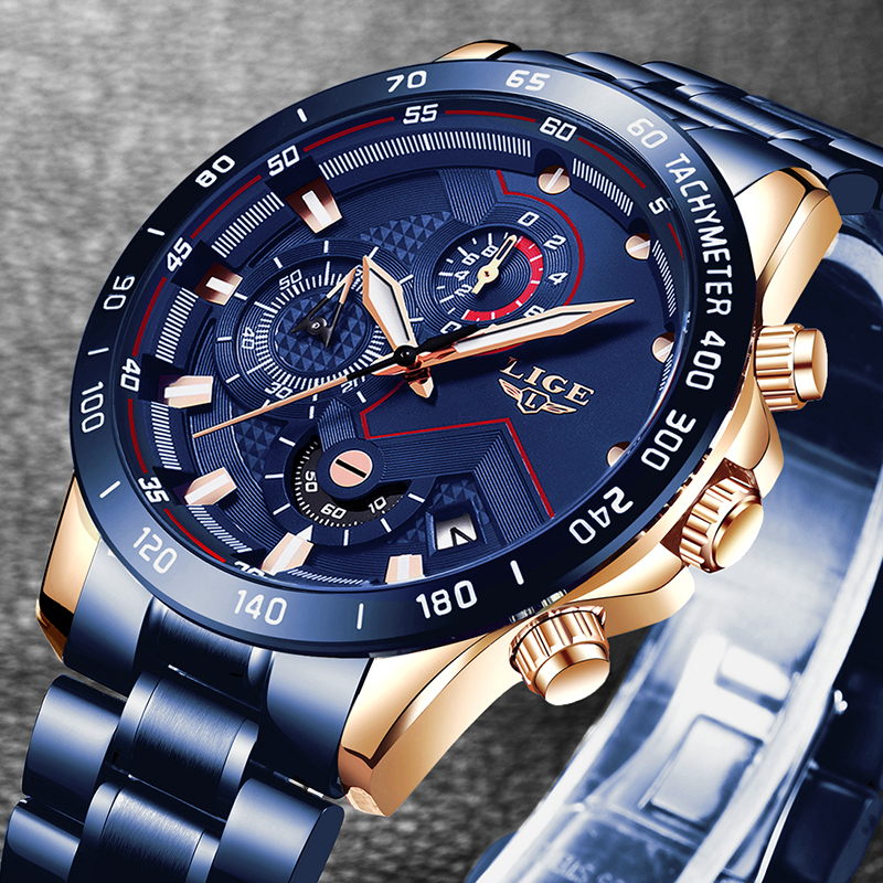 LIGE Men Watches Top Brand Luxury Stainless Steel Blue Waterproof Quartz Watch Men Fashion Chronograph Male Sport Military Watch 1