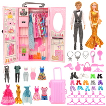 Fashion 43 Items/set Dollhouse Furniture Toys = wardrobe + 42 Dolls accessories Clothes for barbie Ken Game Christmas Kids Toys