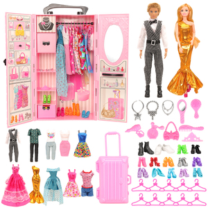 Image 1 - Fashion 43 Items/set Dollhouse Furniture Toys = wardrobe + 42 Dolls accessories Clothes for barbie Ken Game Christmas Kids Toys