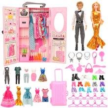 Mode 43 Items/Set Poppenhuis Meubels Speelgoed = Garderobe + 42 Poppen Accessoires Kleding Voor Barbie Ken Game Kerst kinderen Speelgoed