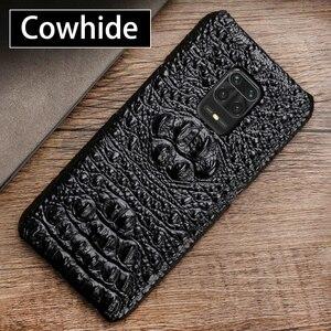 Skórzany futerał na telefon do Xiaomi Redmi Note 9 S 8 7 6 5 K20 K30 Pro Mi 9 se 9T 10 A2 A3 Mix Max 3 Poco F1 X2 tekstura głowy krokodyla