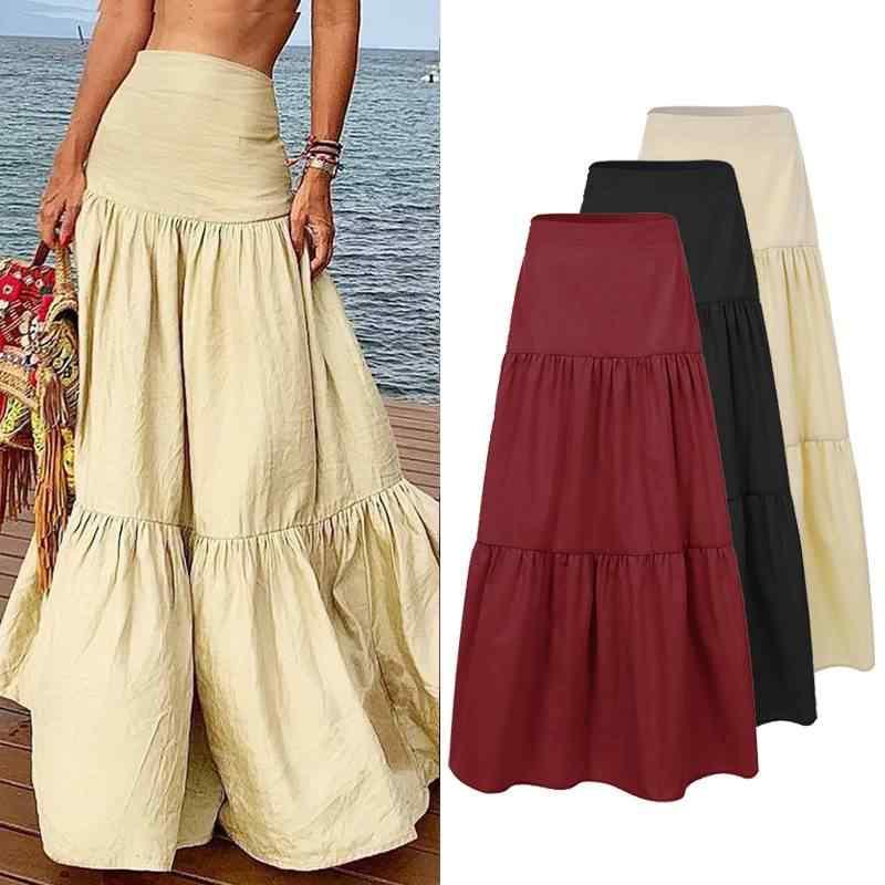 ZANZEA Frauen Sommer Lange Maxi Röcke Rüschen Röcke 2020 Elegante Seite Zipper Up A-linie Rock Baumwolle Leinen Jupe Femme Vestidos