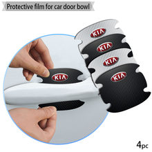 4 pçs maçaneta da porta do carro de fibra carbono adesivos automotivo adesivo para kia k2 k3 k4 k5 cerato ceed rio forte sportage sorento