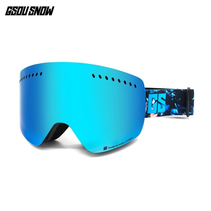 GSOU neige unisexe lunettes de Ski Anti-buée professionnel Ski Snowboard lunettes hommes femmes Snowboard Protection hiver lunettes