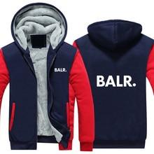 Mens Jacket BALR Printed Thick Hoodies Autumn Winter 2019 Casual Zip Warm Fleece Hoodie Men Streetwear Jackets Male Harajuk