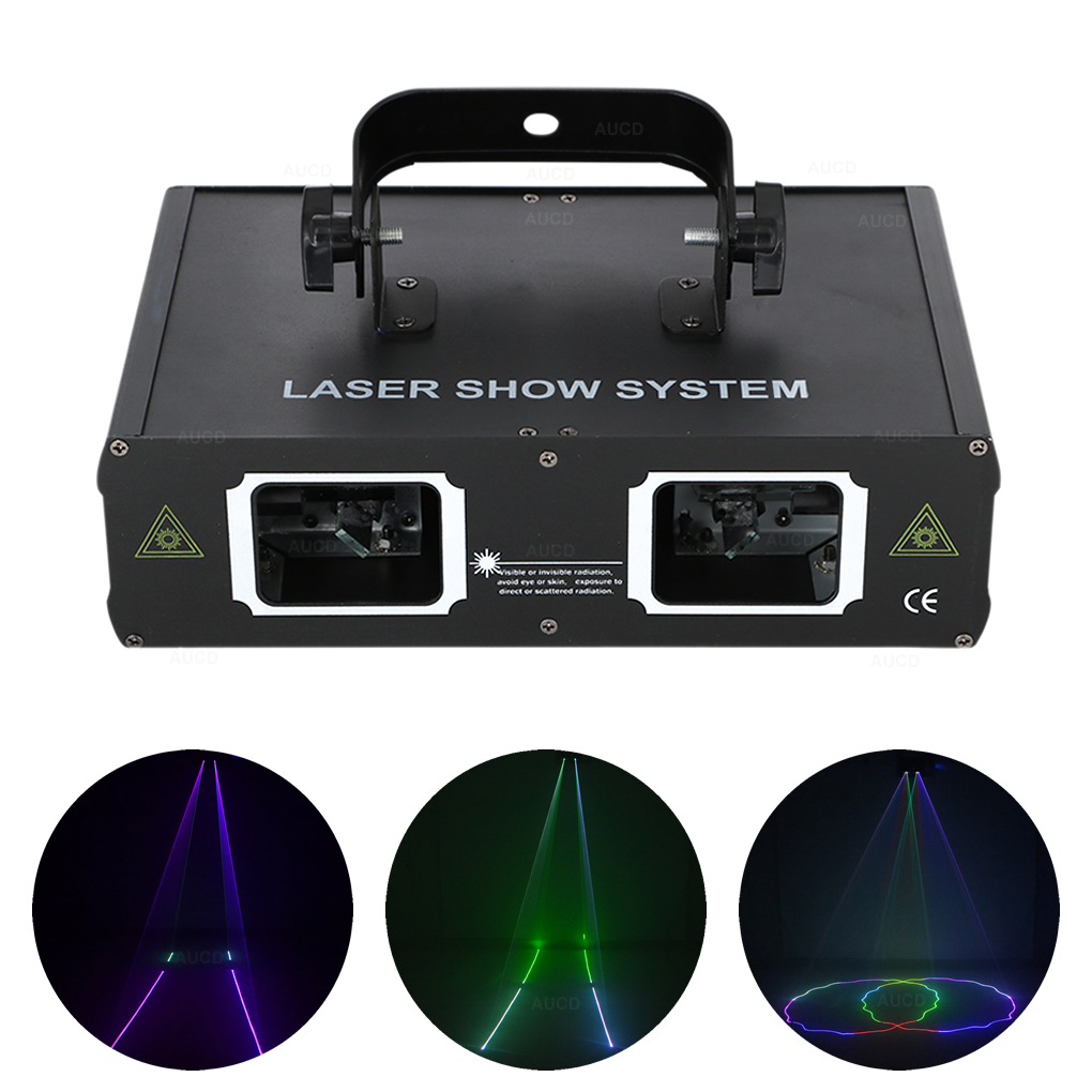 AUCD 2 Lens Red Green Blue RGB Beam Scan Projector Laser Lights DMX Professional DJ Party