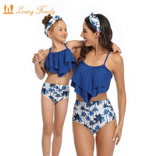 Family Matching Swimwear Mommy And Me Swimsuit Clothes Mom Father Son Beach Shorts Mother Daughter Bikinis