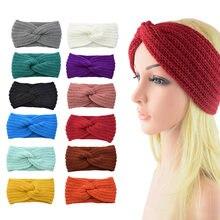 Банты зимние из хлопка для девочек широкие повязки на голову
