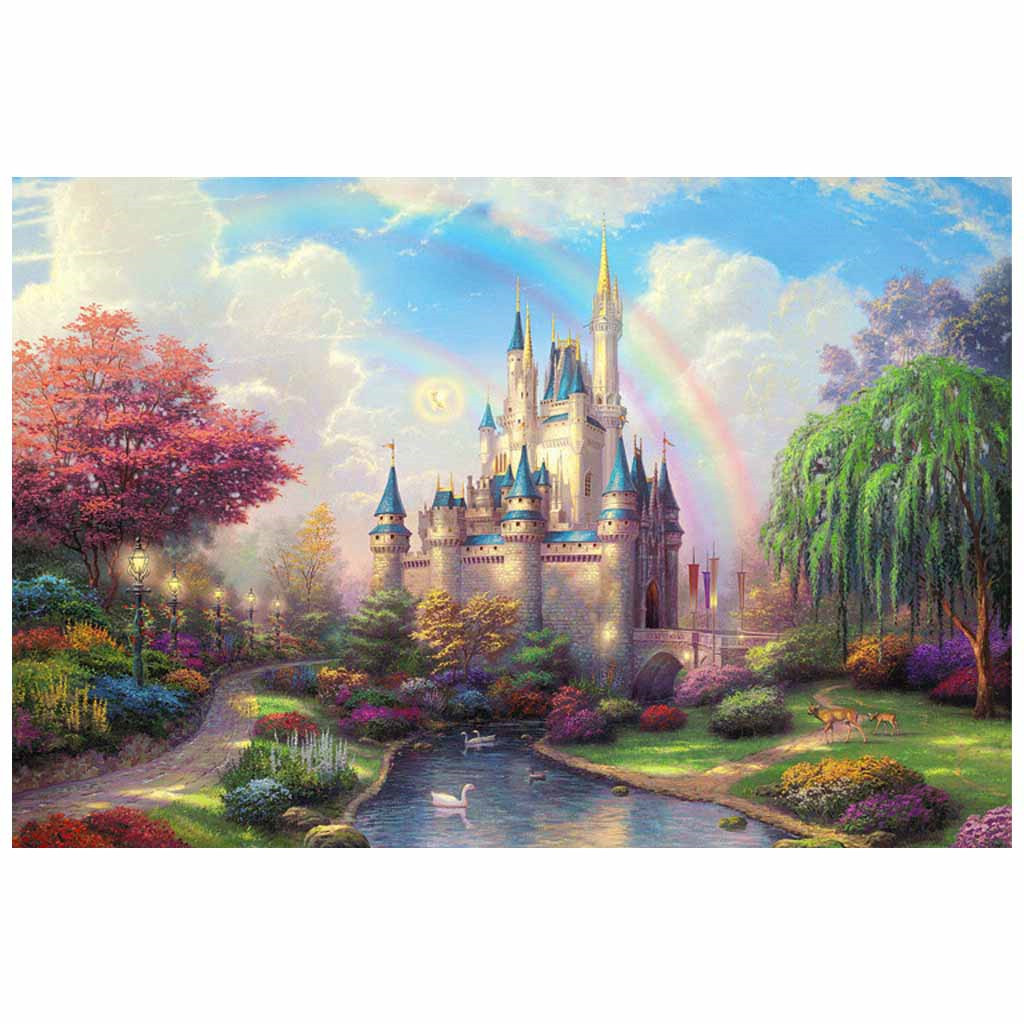 Jagsaw Puzzle 1000 Pieces Rainbow Castle For Adults Kids Wooden Montessori Gift Educational Toys Diy Assembling Puzzle Games(China)