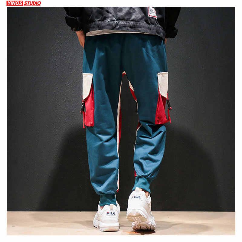 Dropshipping jesień męskie japońskie patchworkowe kieszeń luźne spodnie męskie workowate hip-hopowe spodnie haremowe męskie Streetwear przyczynowe spodnie sportowe