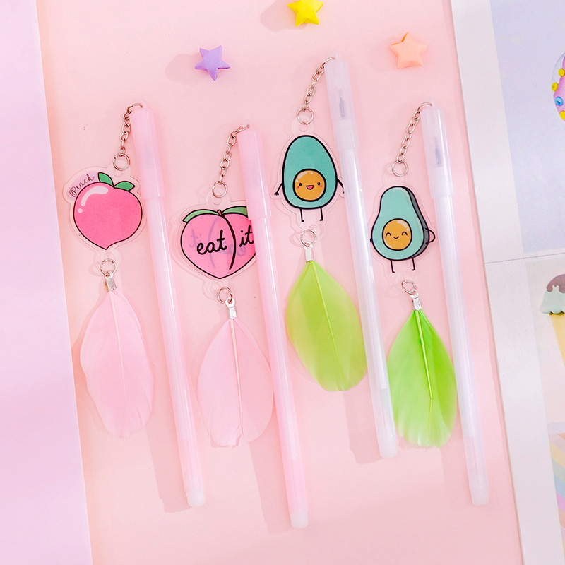 0.38mm Kawaii Peach Neutral Pen Cute Avocado Feather Pendant Gel Pen For Kids Gifts School Office Stationery Supplies