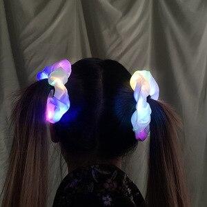 СВЕТОДИОДНЫЕ светящиеся трикотажные резинки для волос для женщин и девочек, головные уборы, веревка для волос, простые кольца на запястье, Р...