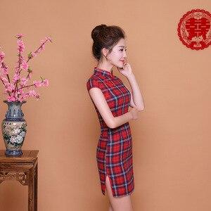 Image 2 - SHENG COCO Ladies Red Blue Plaid Qipao Dress Daily Lattice Cheongsam Short Mini Chinese New Year Cheongsam Qi Pao Dresses Chipao