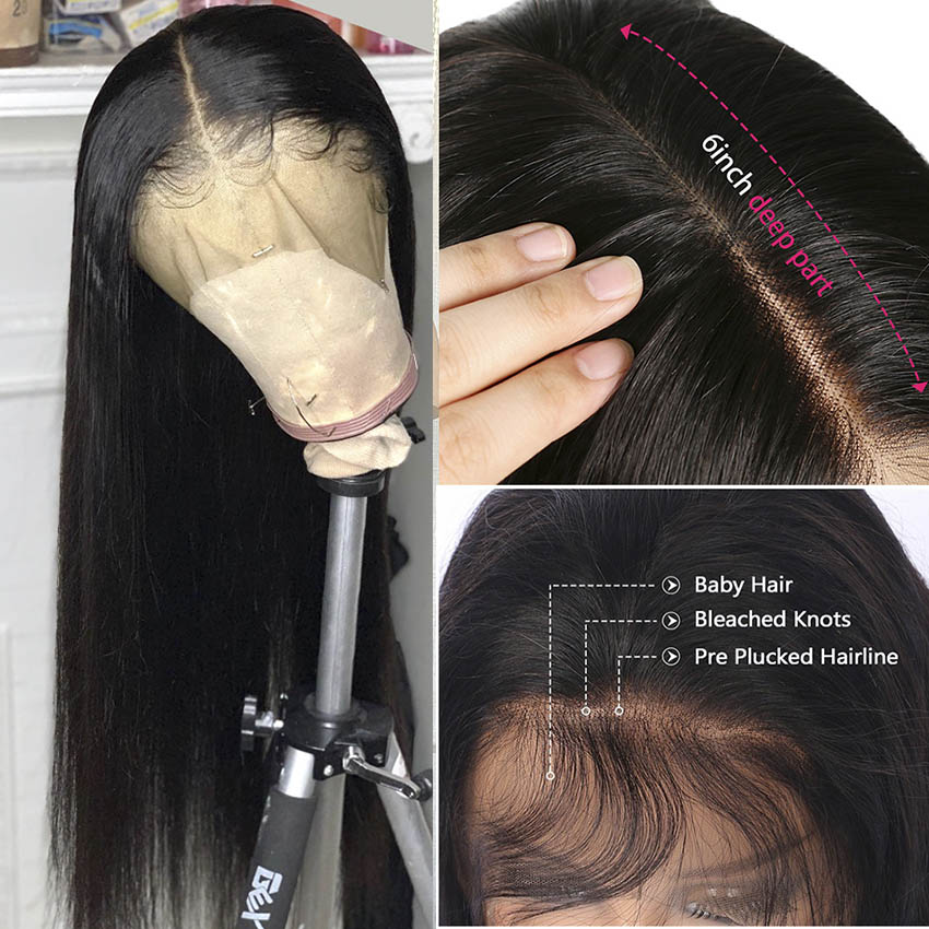 YYONG 4X4 & 13x4 Lace Front  Wigs    Straight  Lace Closure Wig Baby Hair 30inch 130% 4