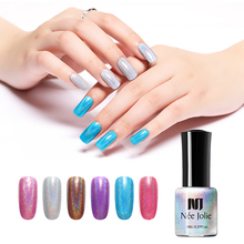 NEE JOLIE 8ml Holographic Nail Polish Sparkling Shimmer Art Varnish Shinny DIY Decoration 6 Colors