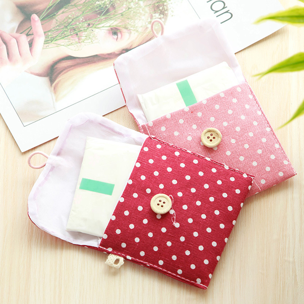 Портативная сумка для хранения гигиенических салфеток из хлопка в горошек, косметический Органайзер для мелких предметов, сумка для хранен...