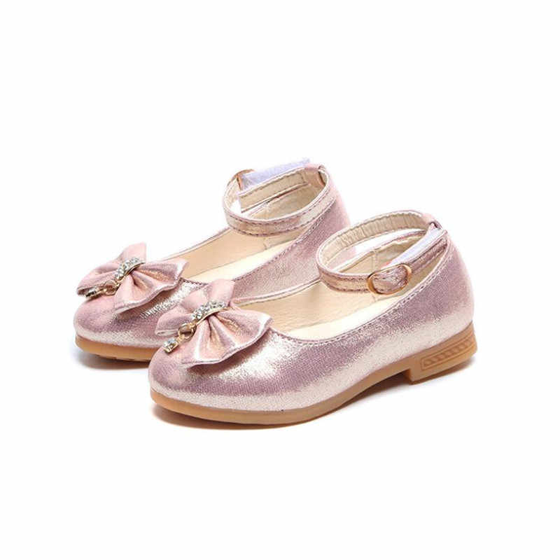 Kids Baby Girl Rhinestone Princess Party Dress Dance Shoes Leather Moccasins UK