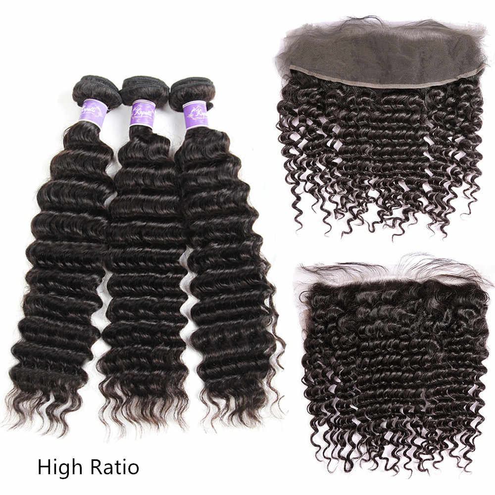 Deep Wave Human Hair 3/4 Bundles With Frontal Brazilian Hair Weave Bundles With Frontal Closure 13x4 With Baby Hair Remy
