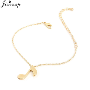 Jisensp Simple Adjustable Bracelets for Women Gold Musical Notes Charm Bracelet Pulseira Feminina Lover's Engagement Jewelry