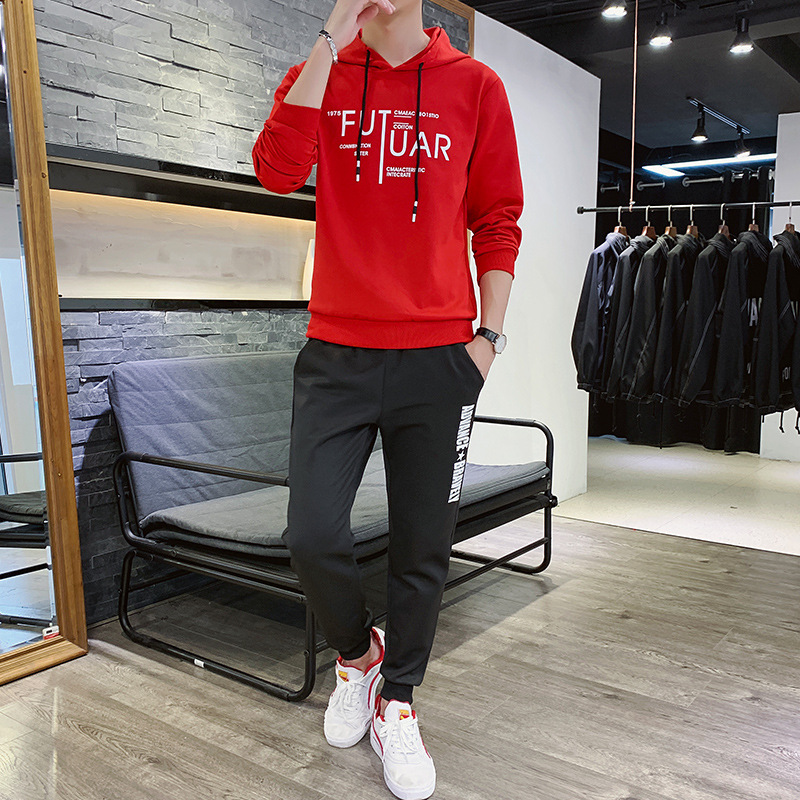 2019 Autumn Style Two-piece Set Leisure Lian Hat Sweater Sports Suit Chao Men's Wear Youth Suit