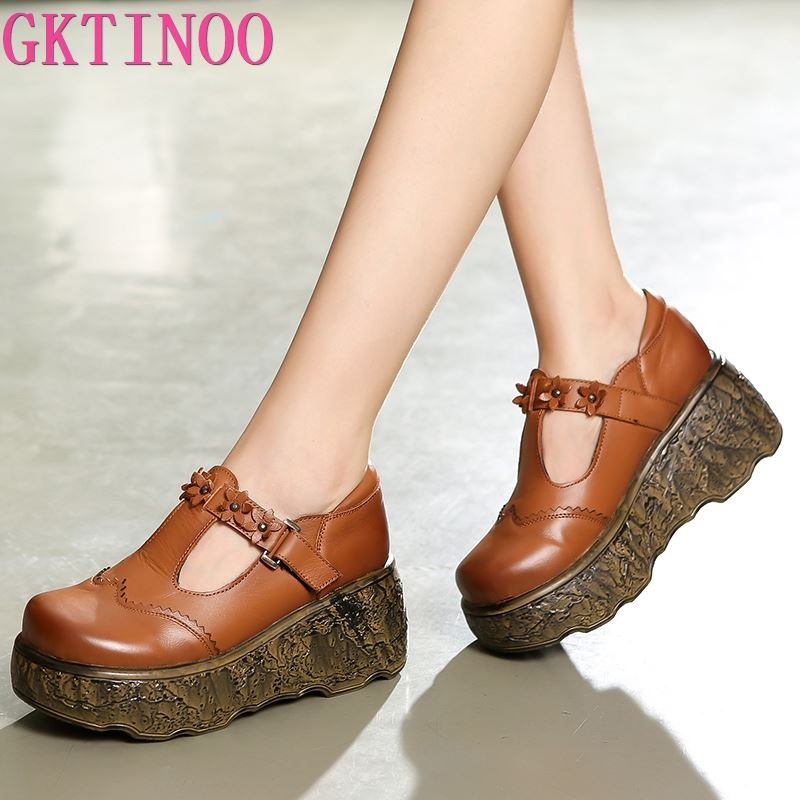GKTINOO 2019 New Autumn Retro Flower Genuine Leather Shoes Women High Heel Shoes Non-slip Platform Shoes Wedges Fashion Shoes