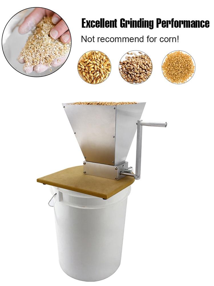 Mill-Grinder Barley-Crusher Malt Manual Corn-Food-Powder-Machine Wooden-Base Stainless-Grains