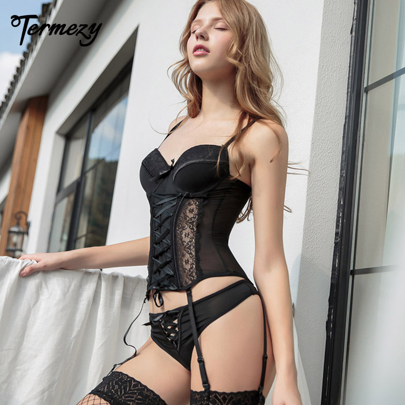 TERMEZY Amazing Sexy Corset Lace High Elasticity Bustier With Thong G String Set Breathable Fabric Lingerie Corset For Women