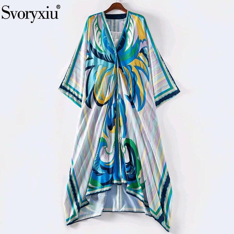 Svoryxiu Runway Summer V-Neck Long Dresses Women's Fashion Batwing Sleeve Blue Totem Print Plus Size Loose Robe Dress S--5XL