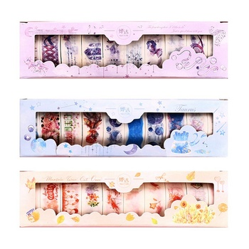 10 Pcs/Box Fantasy Ocean Beautiful Flowers Plants Leaves Washi Tape DIY Decoration For Scrapbooking Masking Tape Adhesive Tape цена 2017
