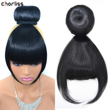 Synthetic Fake Hair Buns With Bang Set Heat Resistant Fiber Chignons HairPiece Ponytail Wig For Women Clip In Hair Extension