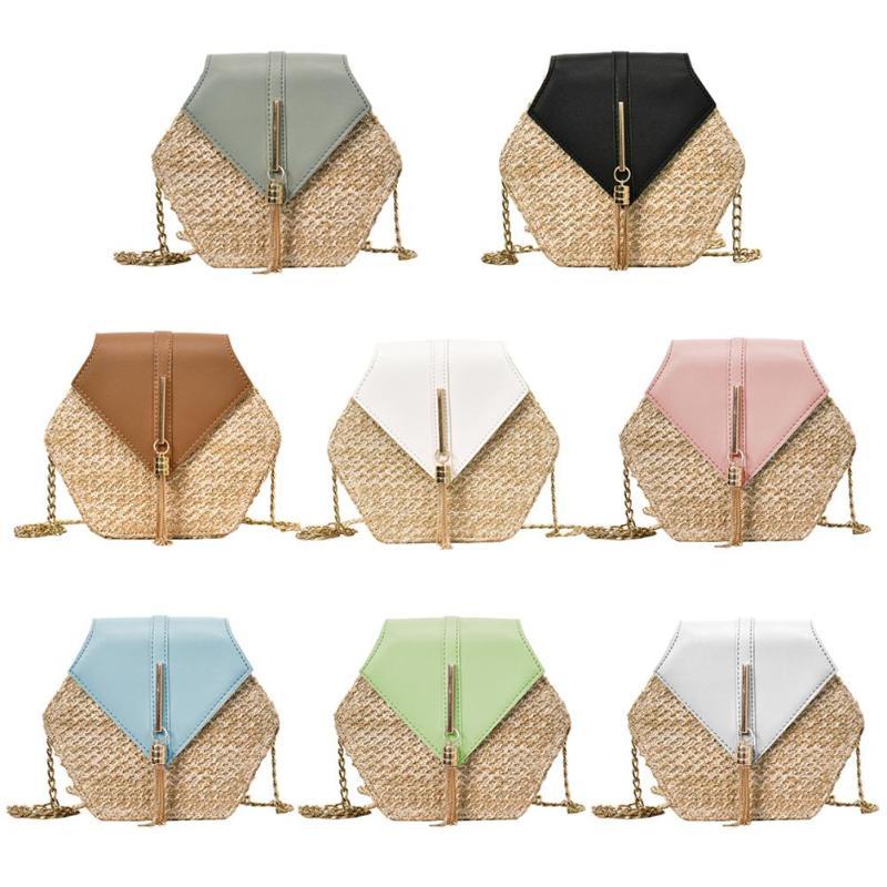 Hex-shape Straw+PU Shoulder Handbags Women Top-handle Summer Beach Boho Bag