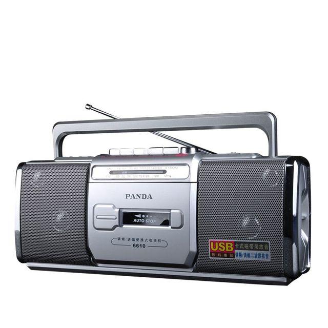 PANDA 6610 Tape Recorder Radio Small Dual Speaker Tape Learn English Playe Two Band Radio