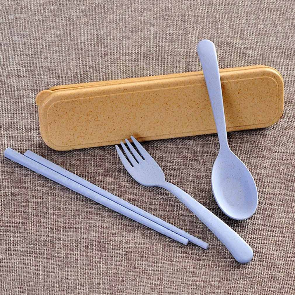 Wheat Straw Chopsticks Spoon Fork Portable Tableware Three Piece Set Outdoor Children's Tableware Set