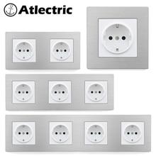 Atlectric EU/DE/RU Standard Power Plug Socket 16A 110-250V Aluminum Alloy Metal Panel Wall Socket Electrical Outlet