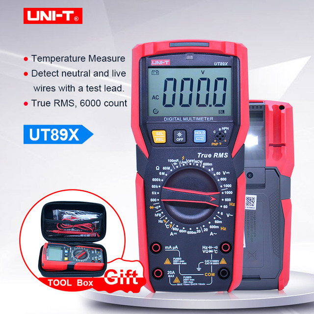 Digital multimeter UNI T UT89X;AC DC Voltage Current meter;Ammeter Voltmeter Resistance Temperature tester;NCV/Live wire test