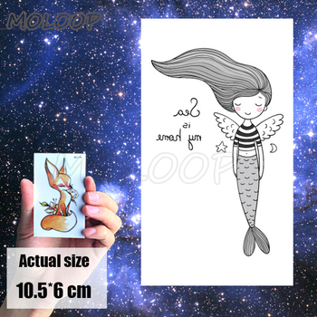 Tattoo Sticker cartoon mermaid angel wings Element whale sea animal Water Transfer Temporary Fake Body Art tatoo for kid man
