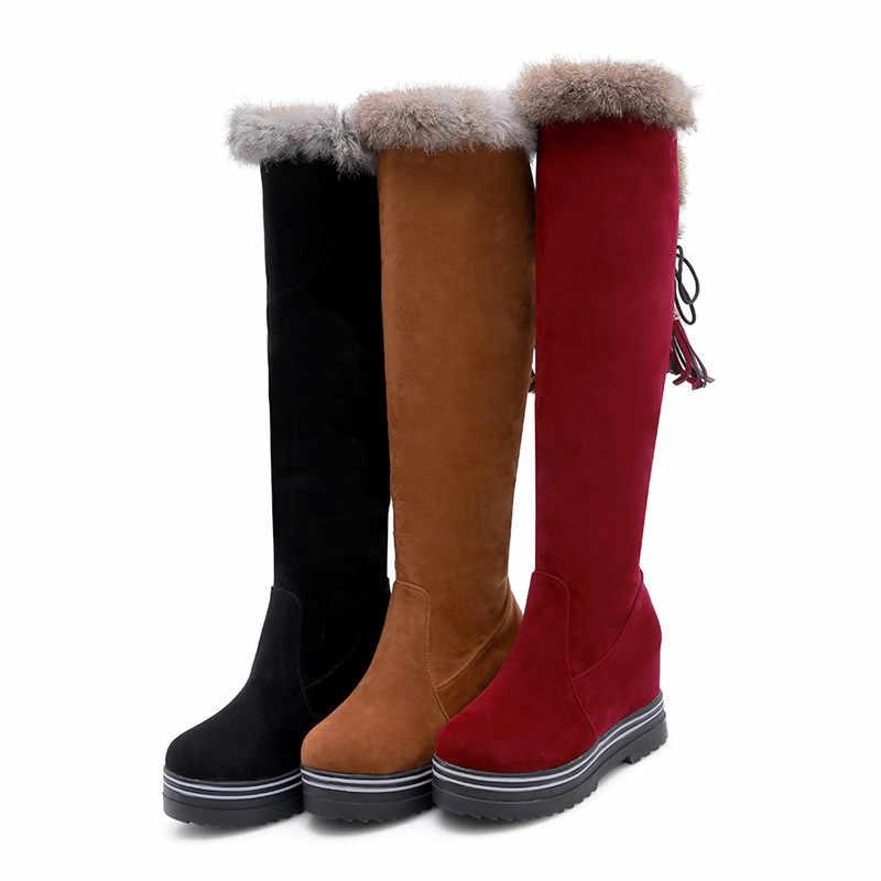 Asumer Mùa Đông 2020 Giày Nữ Mũi Tròn Trên Đầu Gối Giày Nữ Đàn Bên Trong Độ Cao Nền Tảng Nữ Giày Size Lớn 34-43