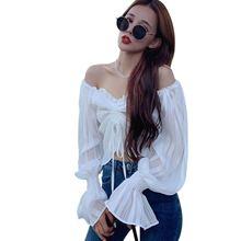 Liva girl ретро блузка Корейская рубашка расклешенные рукава