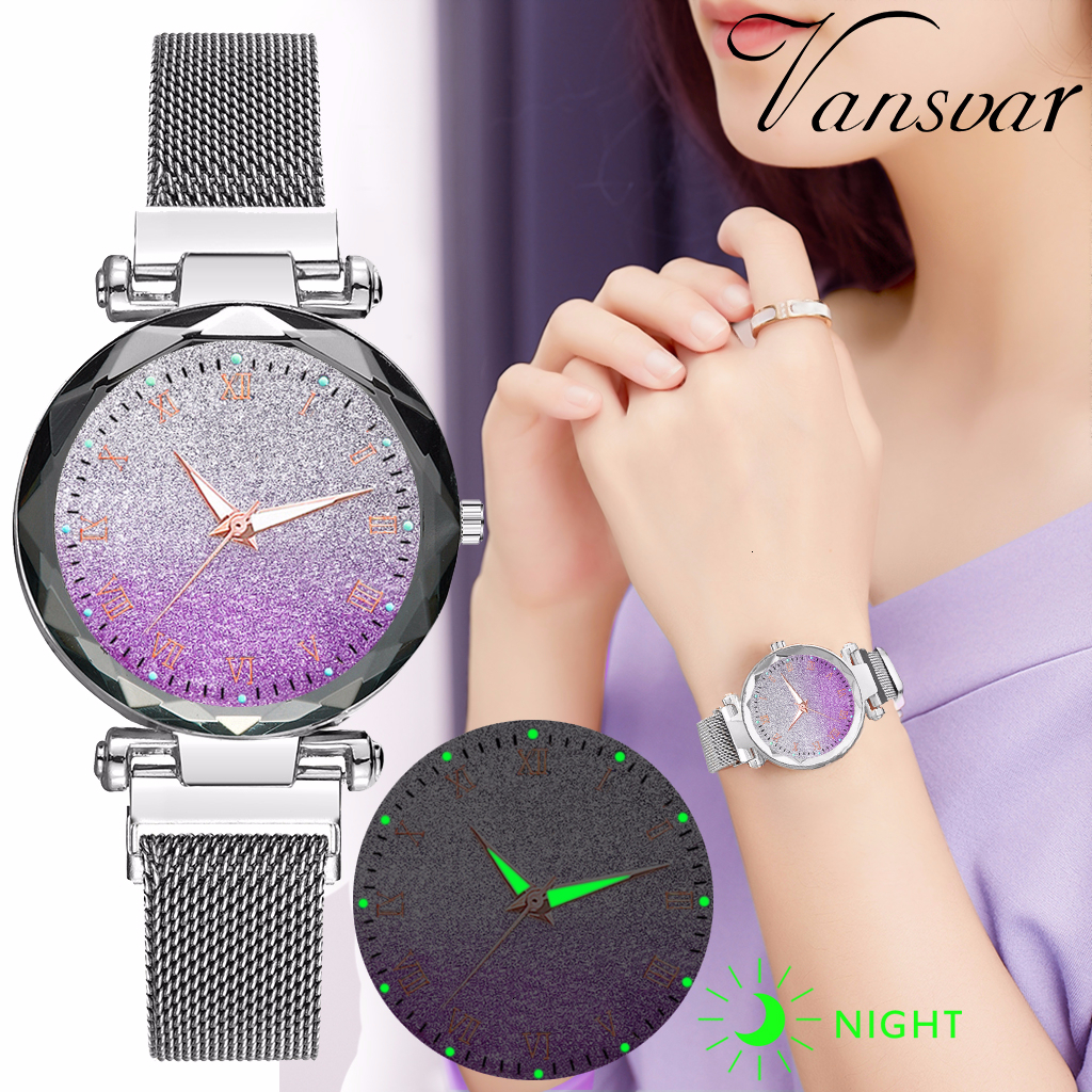 Women Magnet Buckle Gradient Starry Sky Luminous Roma Watch Luxury Ladies Stainless Steel Quartz Watches Relogio Feminino