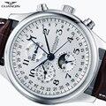 Мужские автоматические механические часы GUANQIN  водонепроницаемые наручные часы с кожаным ремешком и календарем  новинка 2019